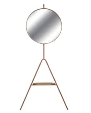 Cabideiro Ted Espelho Prata Revestido em Louro Freijo Base Cobre 180cm - 59598