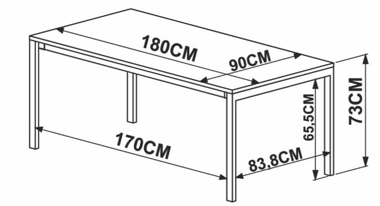 Mesa de Jantar Piemonte Marquina Estrutura Preta 180cm - 57308