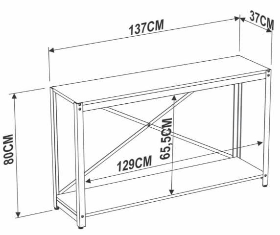 Aparador Sully Vermont Estrutura Preta 137cm - 56808
