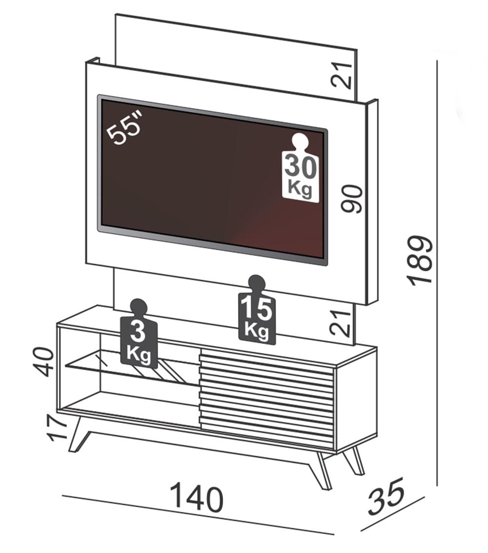 Home com LED Tassos cor Off White com Freijo 1,40 MT (LARG)  - 56643