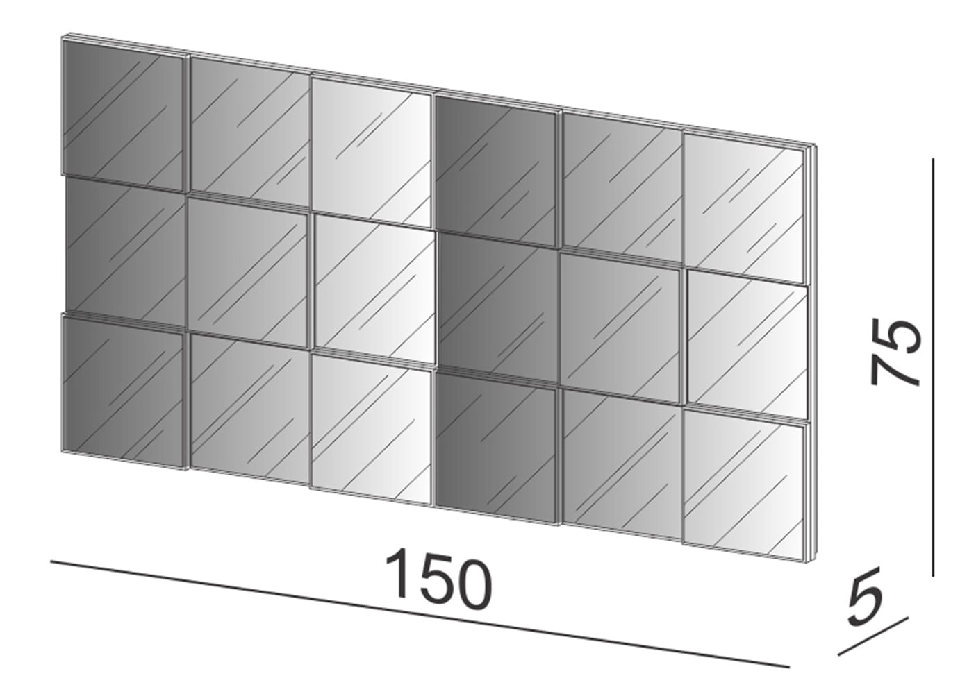 Quadro Espelho Argos Grande 1,50 MT (LARG) cor Freijo - 59691