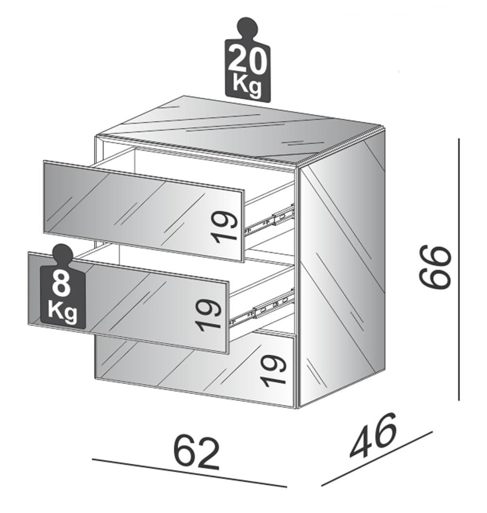 Mesa de Cabeceira Cairo Espelhada com 2 Gavetas 62 cm (LARG) - 59701