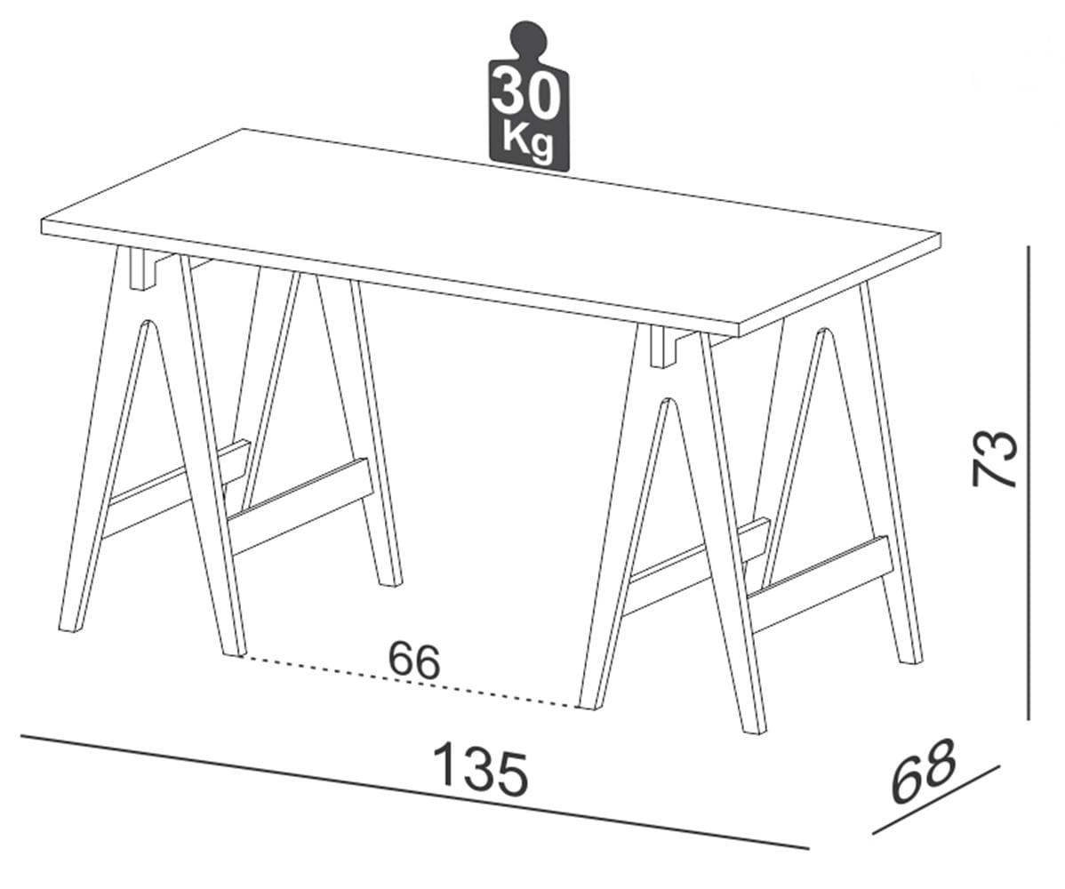 Mesa de Escritorio Cavalete Riviera cor Nobre 1,35 MT (LARG) - 59719