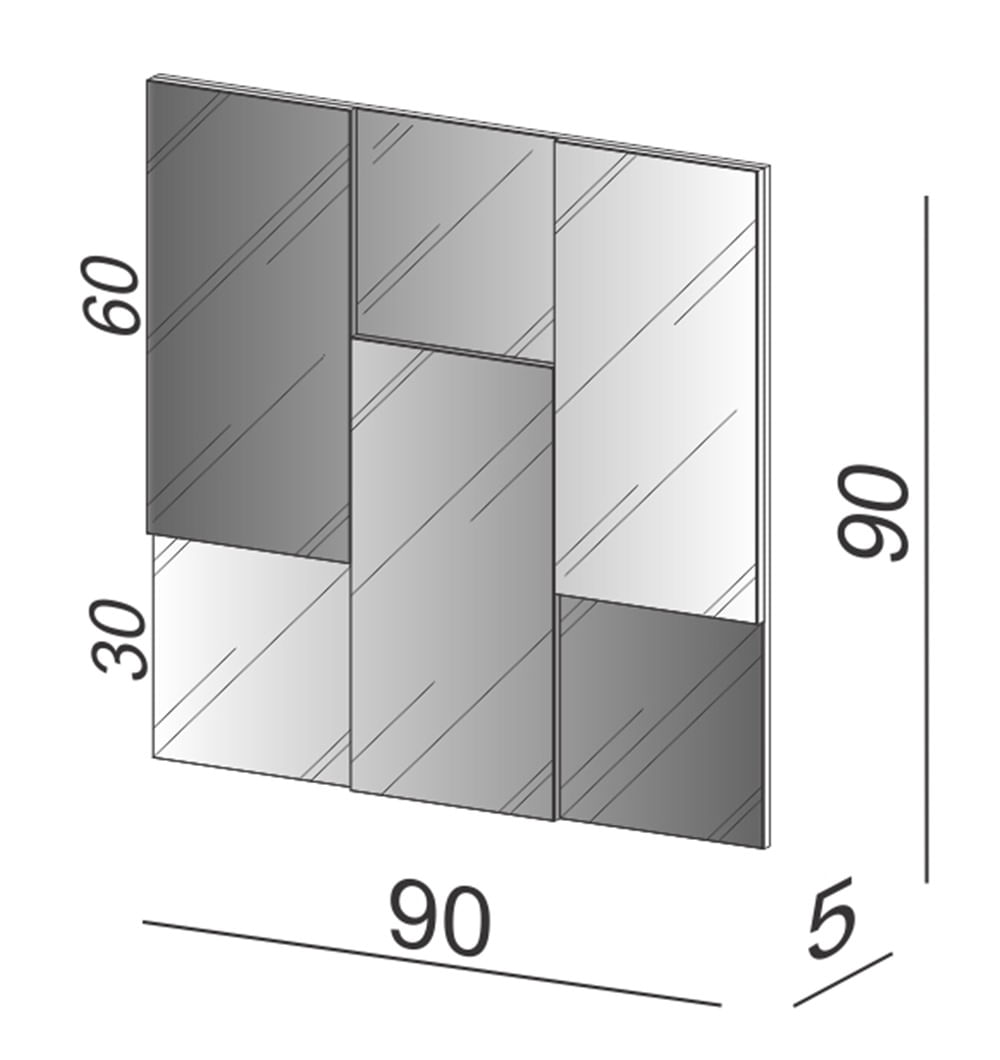 Quadro Espelho Horus Pequeno 90cm (LARG) cor Off White - 59729
