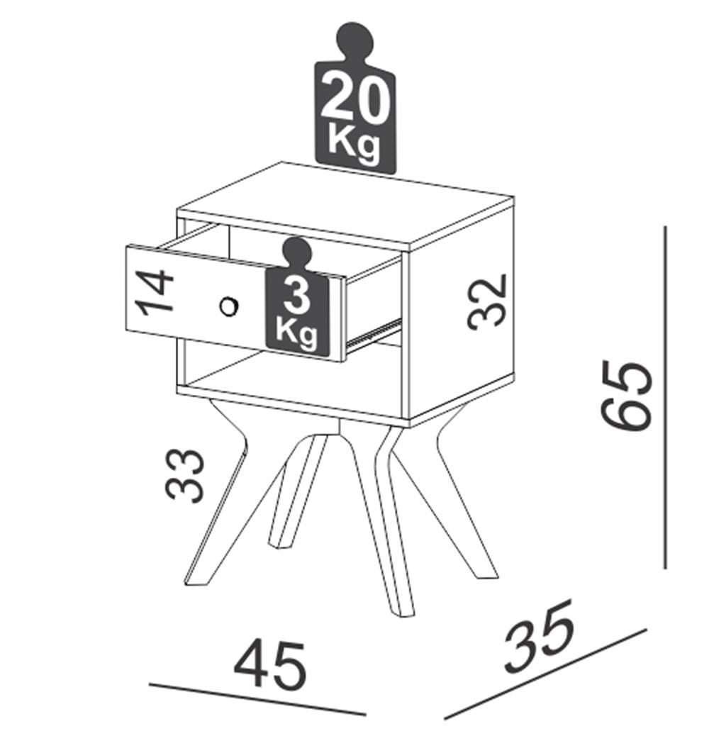 Mesa de Cabeceira Osiris com 1 Gaveta cor Freijo 45 cm (LARG) - 59730