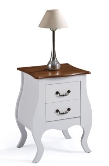Mesa de Cabeceira Lila Branca 2 Gavetas Tampo Imbuia 65cm - 59832