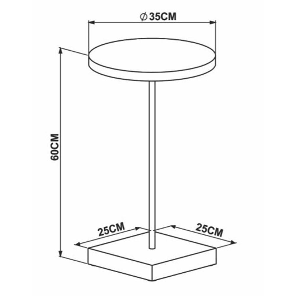 Mesa Lateral Cadiz Marquina Estrutura Dourada 51cm - 59837