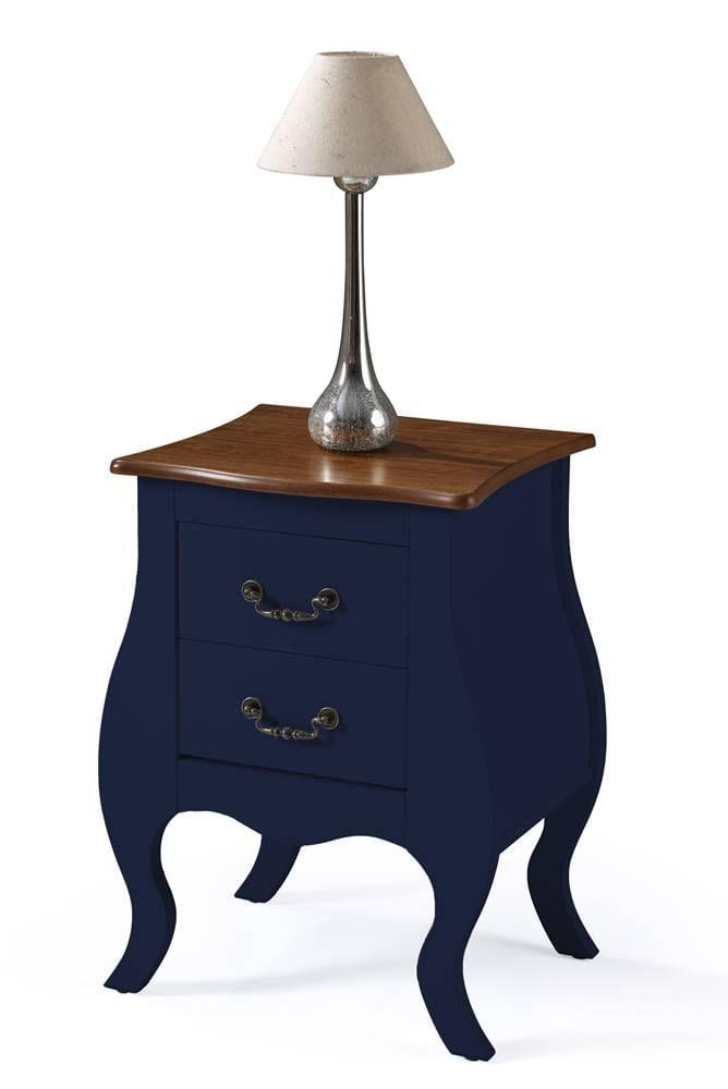 Mesa de Cabeceira 2 Gavetas Elegance Azul Petroleo Tampo Imbuia 50cm - 59857