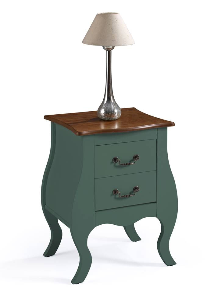 Mesa de Cabeceira 2 Gavetas Elegance Verde Musgo Tampo Imbuia 50cm - 59858