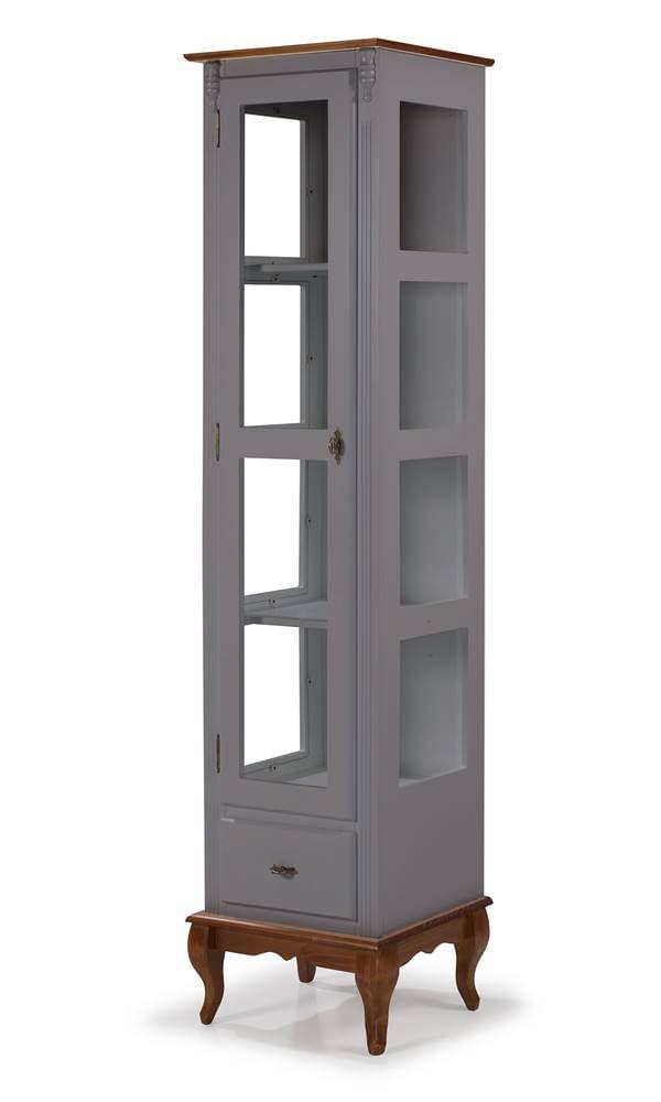 Cristaleira Malaga Cinza Escuro Porta de Vidro 1 Gaveta 205cm - 59881
