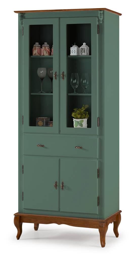 Cristaleira Bertolucci Verde Musgo 2 Portas Vidro 2 Portas Madeira 2 Prateleiras 1 Gaveta Base Imbuia 205cm - 59884
