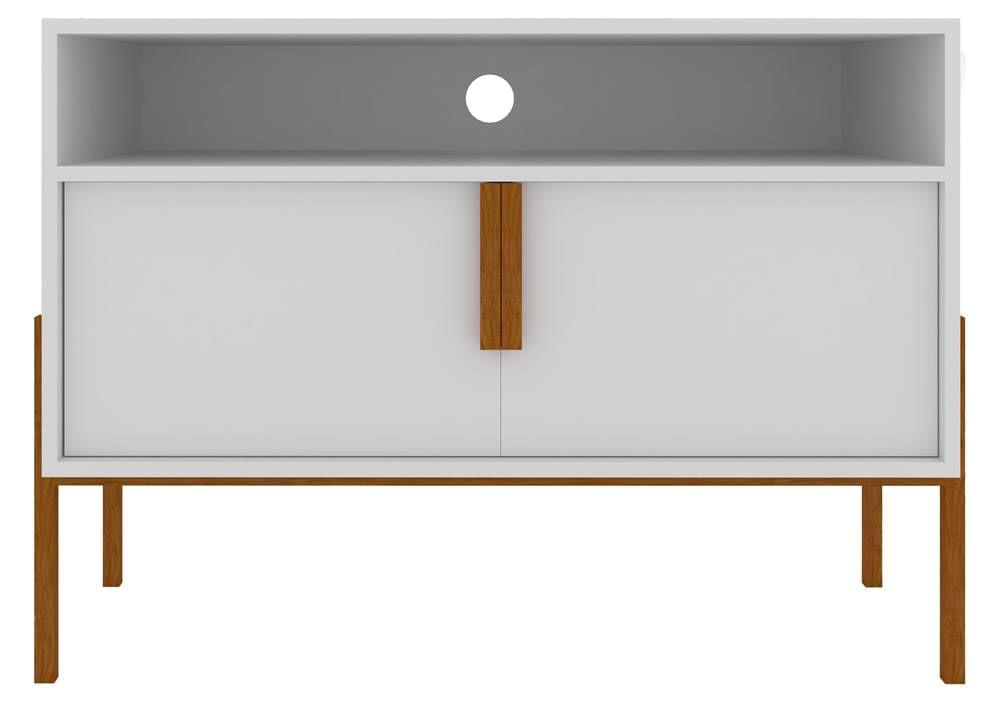 Rack Pequeno Benny Branco Acabamento Madeira 64cm - 59957