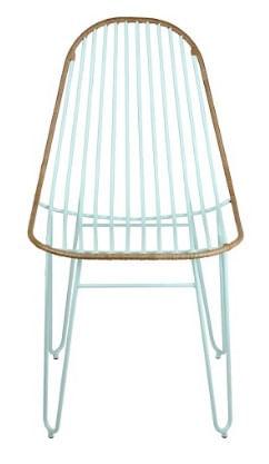 Cadeira Invisi Trama Azul Claro Acabamento Couro Marrom Base Aco Azul 45 cm - 59978