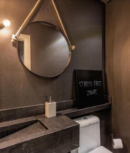 Espelho Redondo Hanoi Prata Moldura Gold 75 cm - 59988