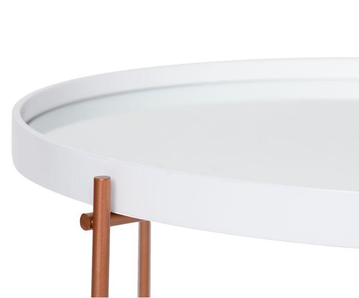 Mesa Centro Volpi Alta Branca C/ Espelho e Base Cobre 62cm - 60001