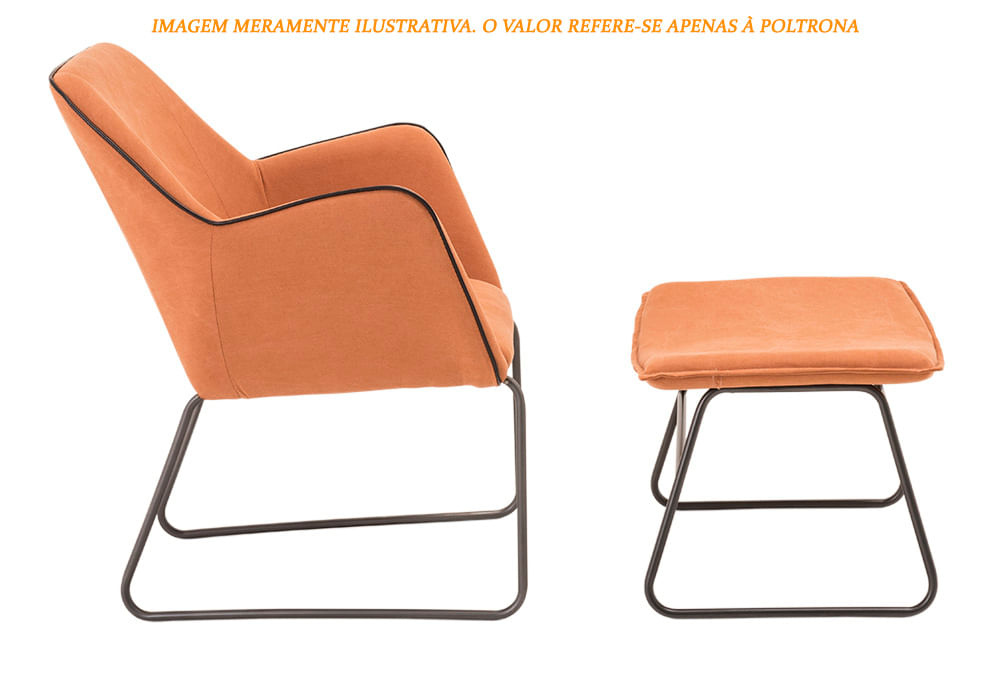Poltrona Elite Tangerine Base Preta 84cm - 60060