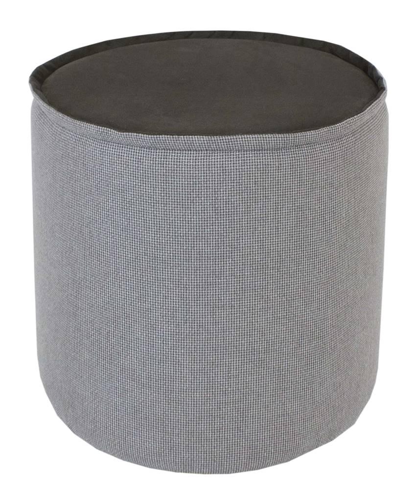 Puff Angra Veludo Cinza Metalizado Prata 41 cm - 60086