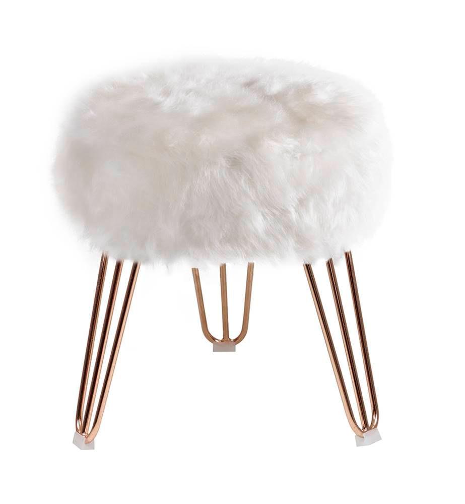 Puff Cloud Base Cobre Pele Sintetica Branca 46 cm - 60091