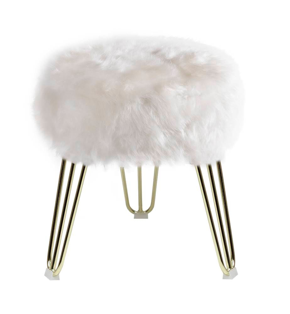 Puff Cloud Base Dourada Pele Sintetica Branca 46 cm - 60092