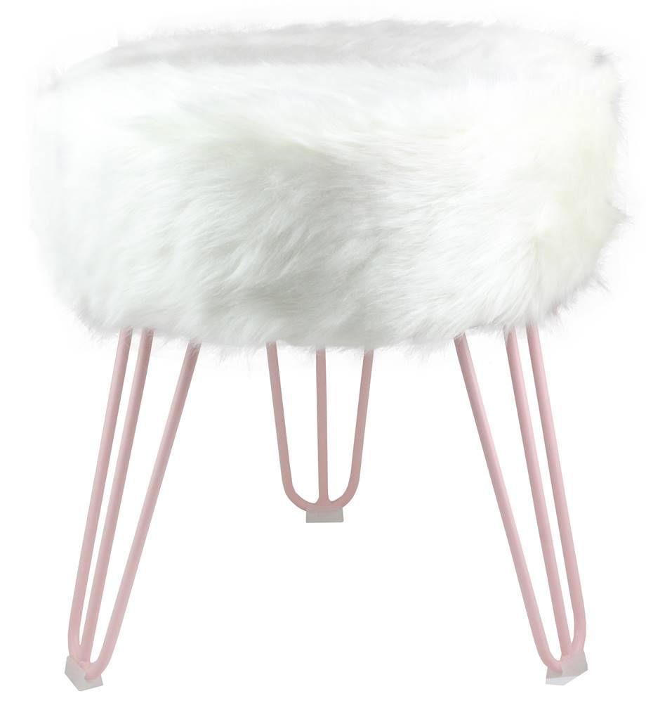Puff Cloud Base Rose Pele Sintetica Branca 46 cm - 60094
