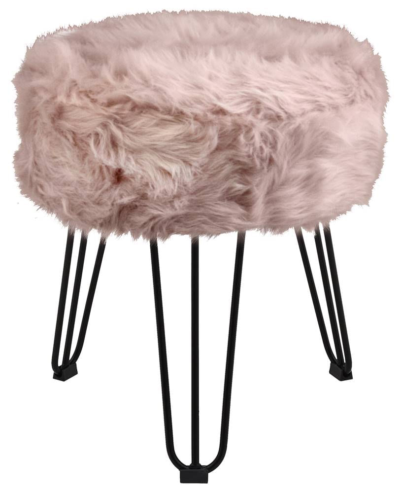 Puff Cloud Base Preta Pele Sintetica Rosa 46 cm - 60100