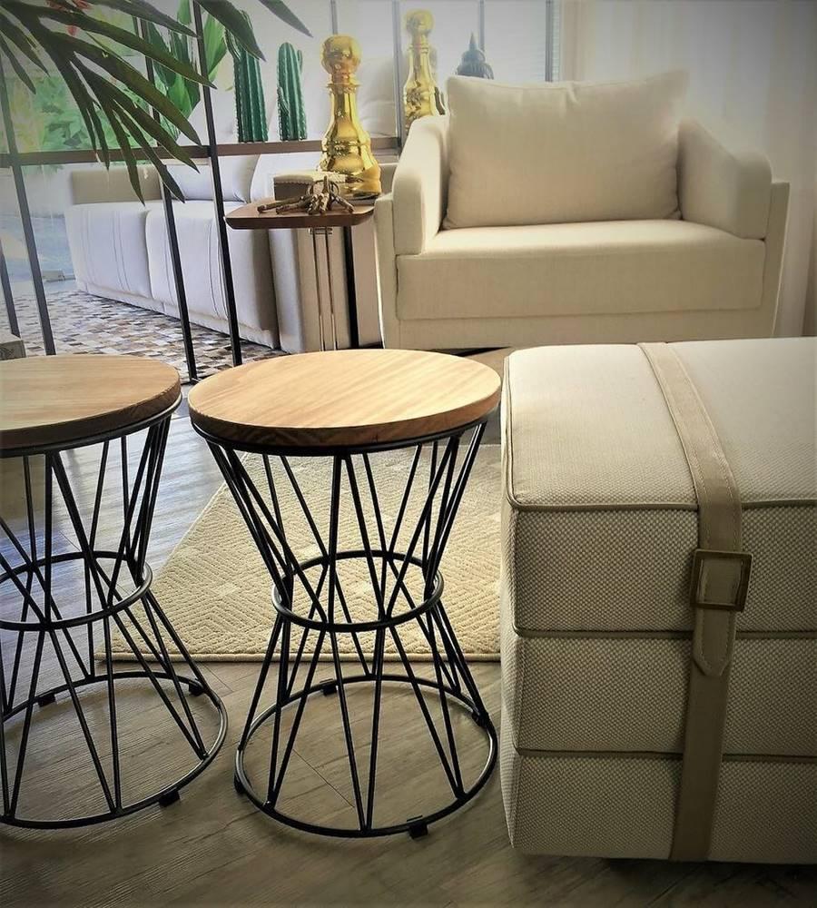 Seat Garden Leon Tampo Nogueira Base Aco Corten 46 cm - 60109