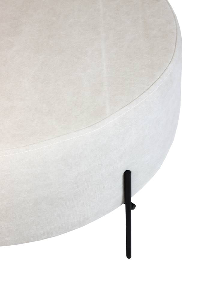 Puff Beagle Redondo Lona Bege Base Preta 30cm - 60113