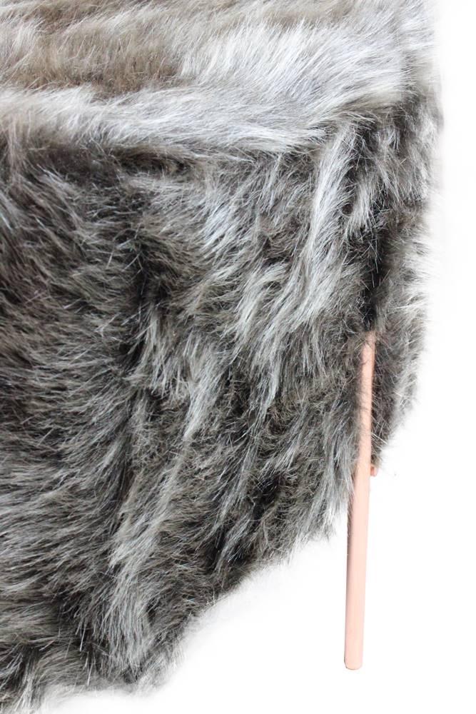 Puff Beagle Redondo Pele Sintetica Marrom Base Rose 30cm - 60115