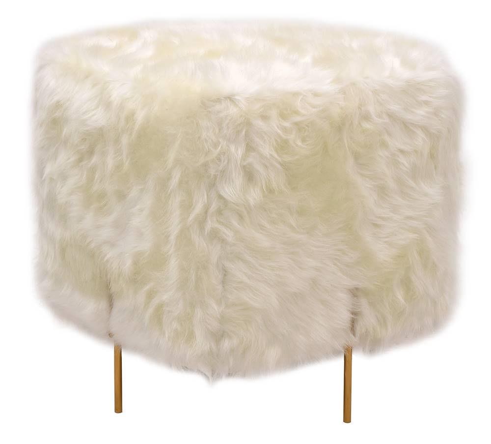 Puff Beagle Quadrado Pele Sintetica Branca Base Dourada 48cm - 60120
