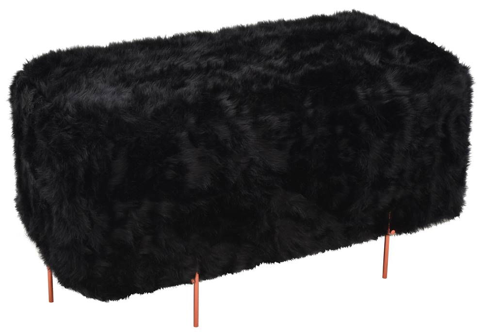 Puff Beagle Retangular Pele Preta Base Cobre 48cm - 60123