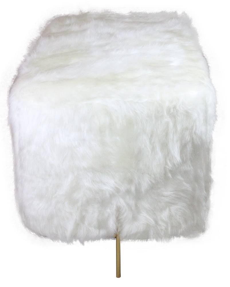 Puff Beagle Retangular Pele Sintetica Branca Base Dourada 48cm - 60126