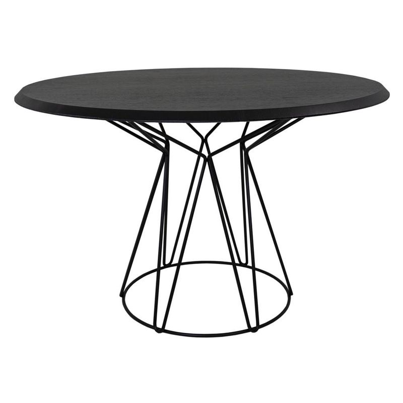 Mesa-de-Jantar-Smart-Tampo-Ebanizado-e-Base-Preta