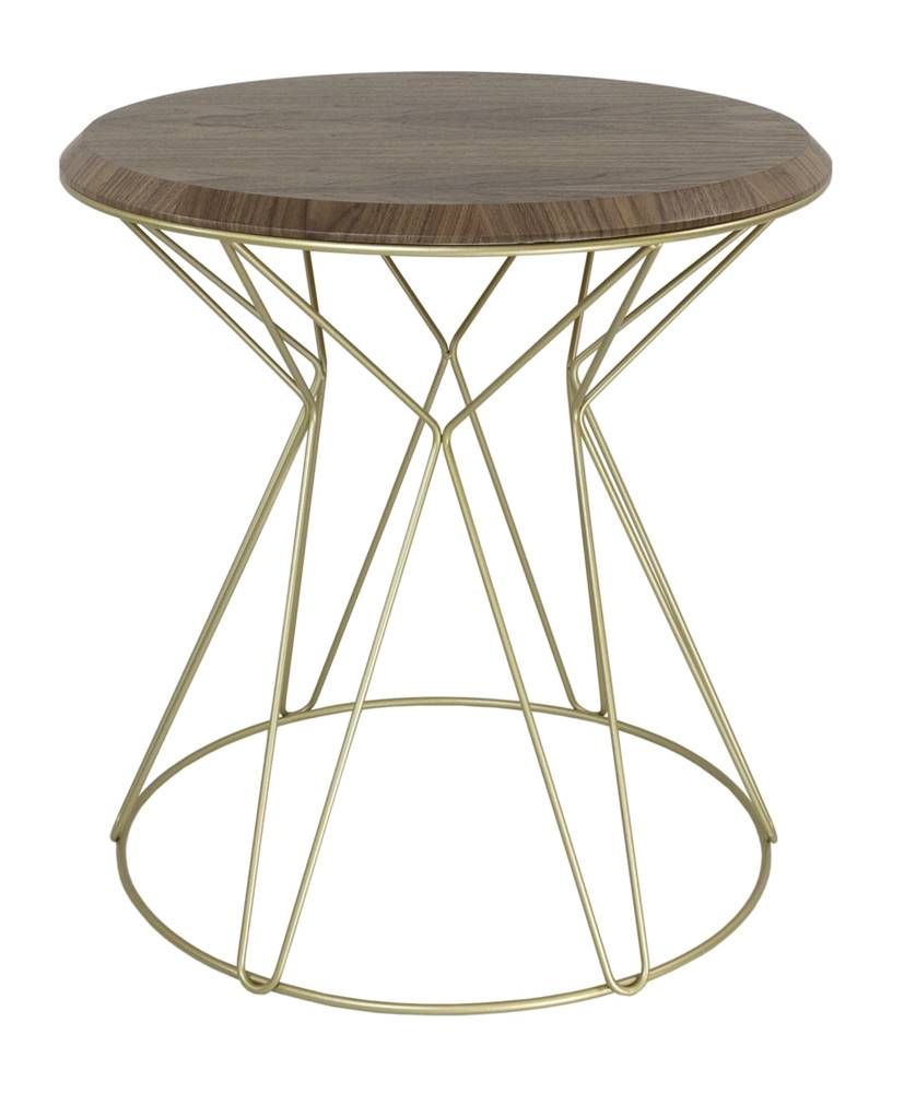 Mesa Lateral Cost Nogueira Base Gold 69cm - 60267