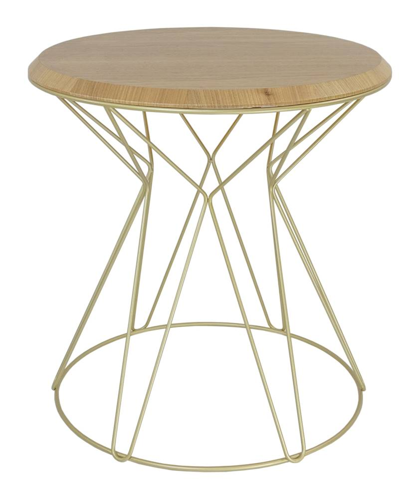 Mesa Lateral Cost Louro Freijo Base Gold 69cm - 60269