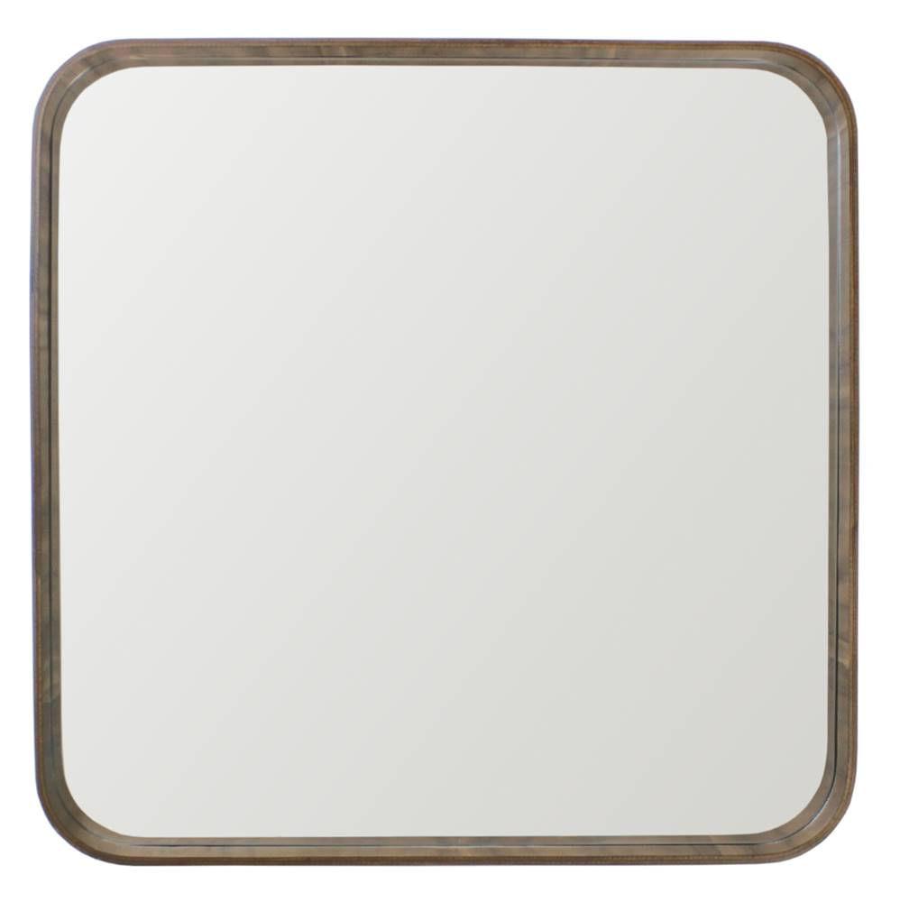 Espelho Manaus Quadrado Prata Borda Dourada 75cm - 60286