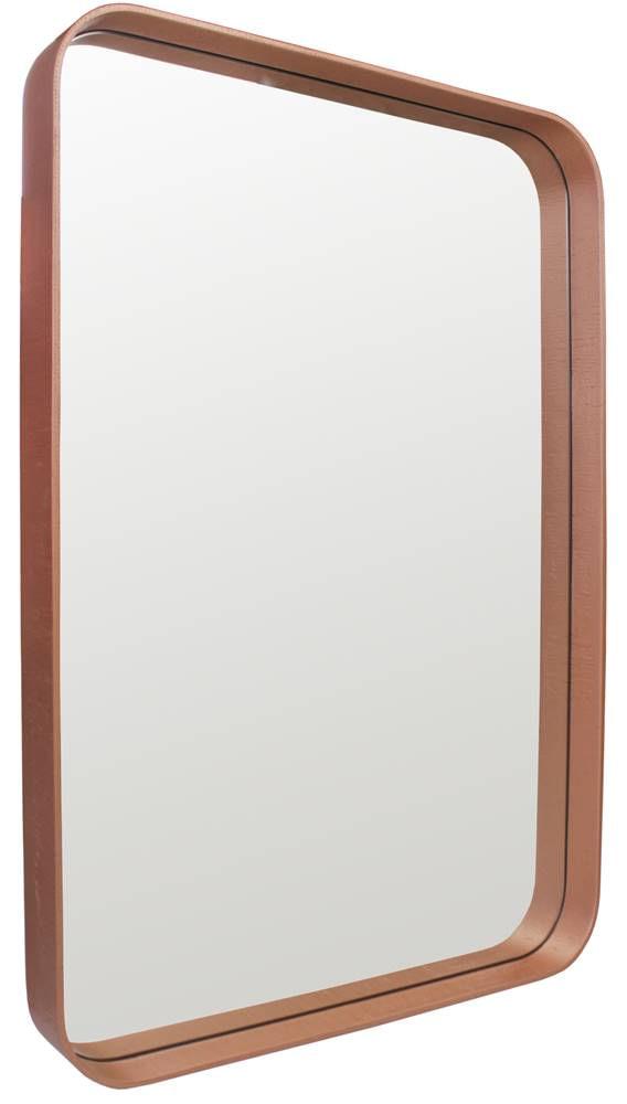 Espelho Manaus Retangular Prata Borda Cobre 80cm - 60288