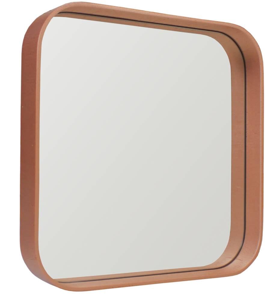 Espelho Manaus Quadrado Prata Borda Cobre 40cm - 60289