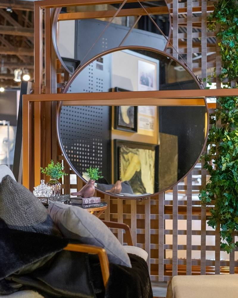 Espelho Elena Prata Borda Couro Preto 90cm - 60291