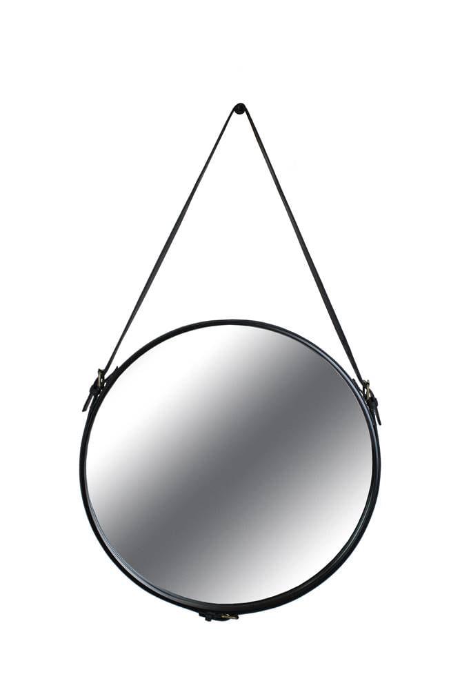 Espelho Elena Prata Borda Couro Preto 60cm - 60293