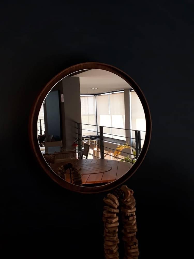 Espelho Lua Borda Louro Freijo 40cm - 60296