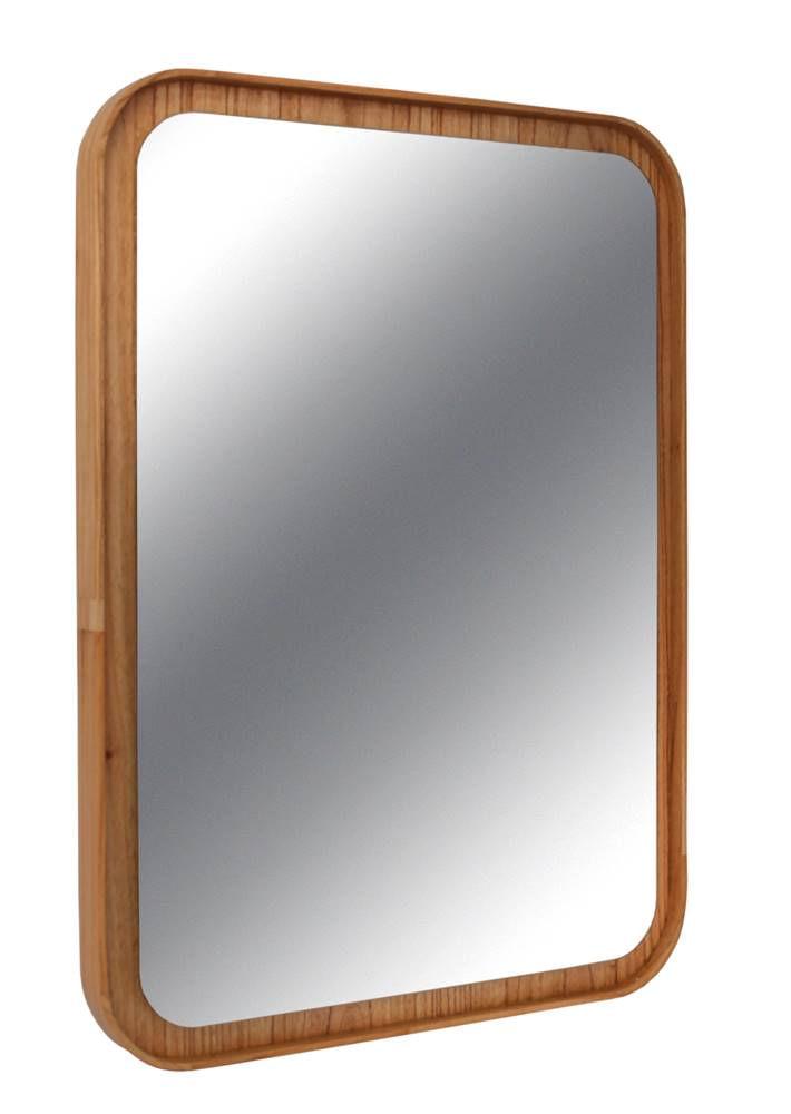 Espelho Lua Retangular Borda Louro Freijo 75cm - 60297