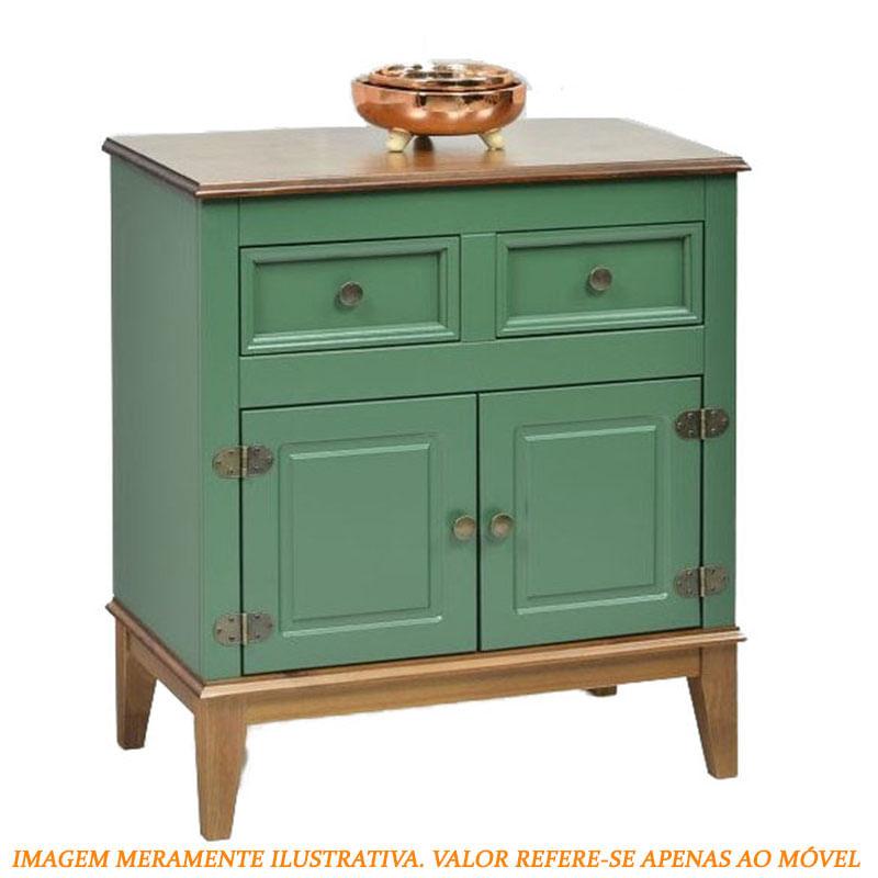 Buffet Antoine 2 Portas e 2 Gavetas Verde com Caramelo 83cm - 60302
