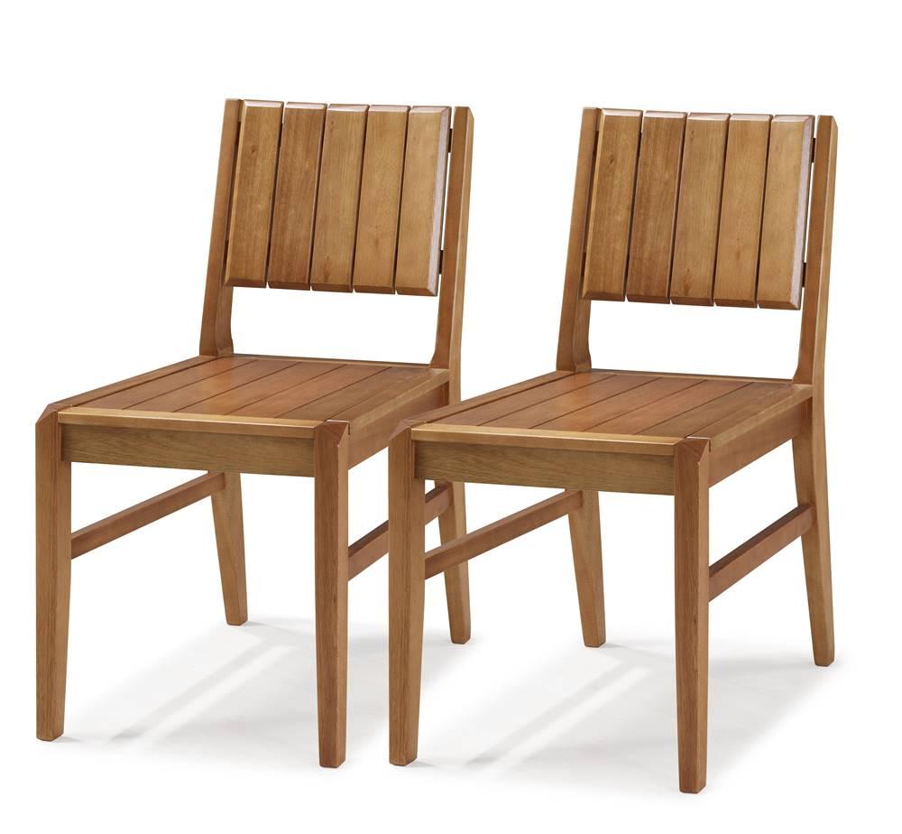 Kit 2 Cadeiras Salvador Verniz Jatoba Encosto Ripado 43cm - 60331