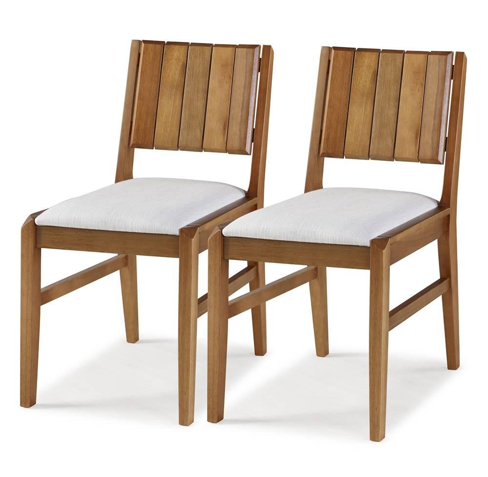 Kit 2 Cadeiras Salvador Verniz Jatoba Estofada 43cm - 60332