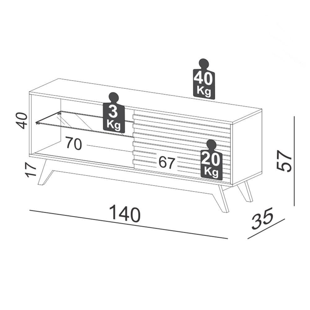 Rack Istambul 1 Porta cor Off White com Freijo 1,40 MT (LARG) - 56896