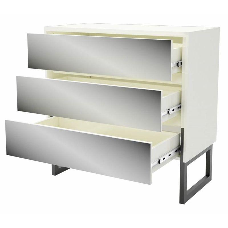 Comoda-Arcadia-cor-Off-White-e-Preto-Fosco-com-3-Gavetas-Espelhadas-90-cm--LARG----55285-