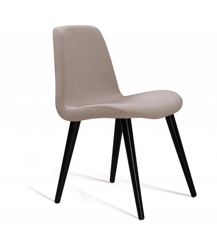 Cadeira Estofada Jacob Lona Bege com Pes Palito Preto 52cm - 61244