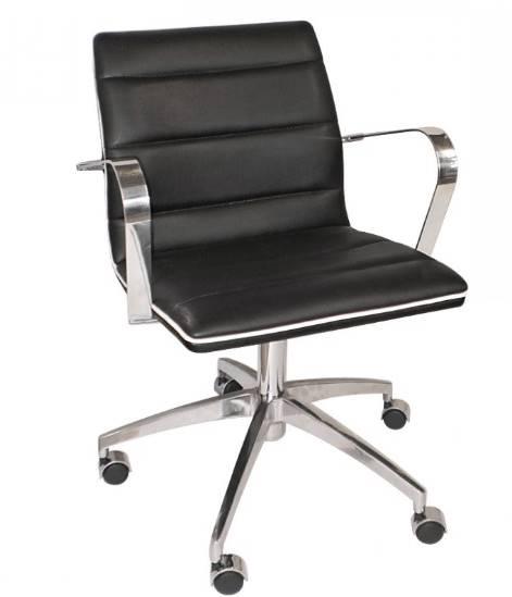 Cadeira Office Lux Courino Preto Base Cromada 87cm - 61278