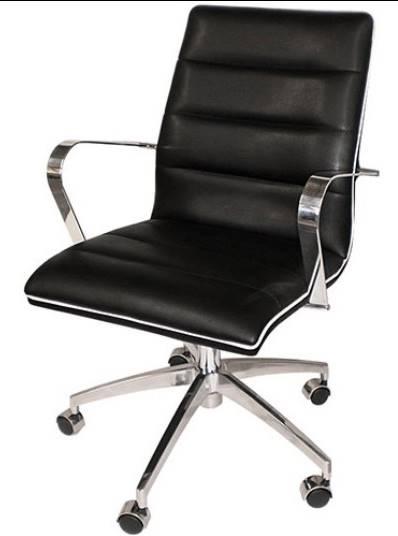 Cadeira Office Dexter Courino Preto Base Cromada 97cm - 61280