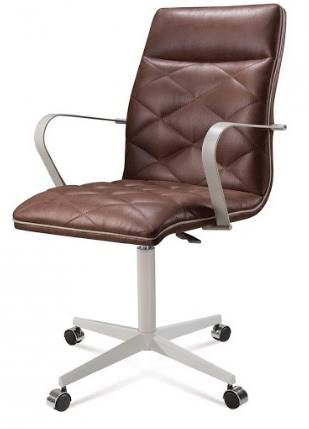 Cadeira Office Billy Courino Marrom Base Cromada 97cm - 61296